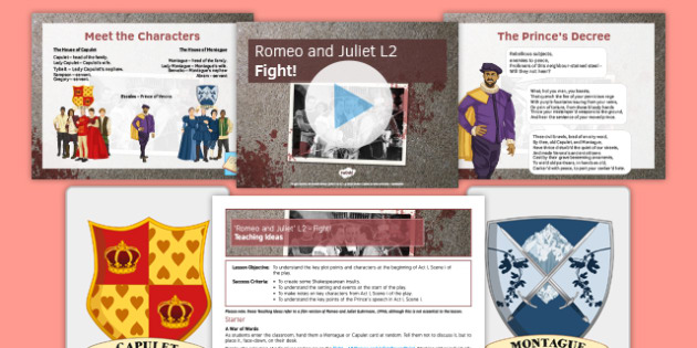 Romeo and Juliet L2 Pack - Romeo and Juliet, Montague, Capulet, fight, Prince, Act I, Scene i, Shakespeare, Insults