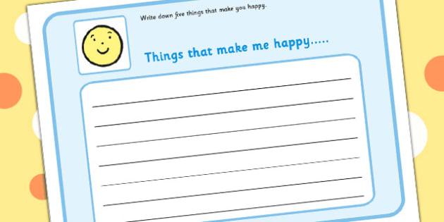 5 Things That Make You Happy Writing Frame - feelings, emotions