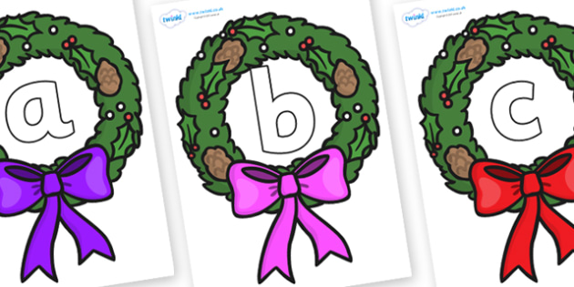 Phoneme Set on Christmas Wreaths - Phoneme set, phonemes, phoneme, Letters and Sounds, DfES, display, Phase 1, Phase 2, Phase 3, Phase 5, Foundation, Literacy