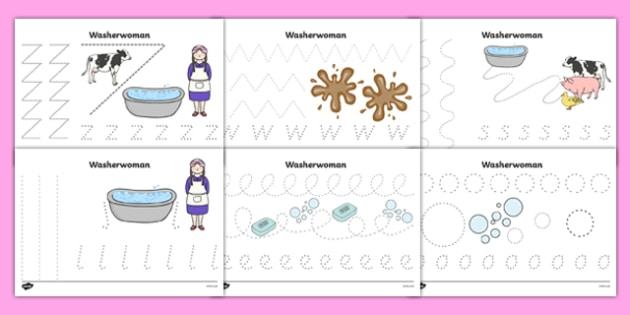 Washerwoman Pencil Control Sheets - mrs wishy washy, washerwoman, pencil control sheets