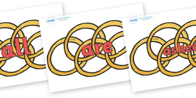 Tricky Words on Five Gold Rings - Tricky words, DfES Letters and Sounds, Letters and sounds, display, words