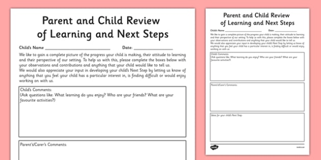 Parent and Child Review of Learning and Next Steps Template - EYFS assessment, Early years assessment