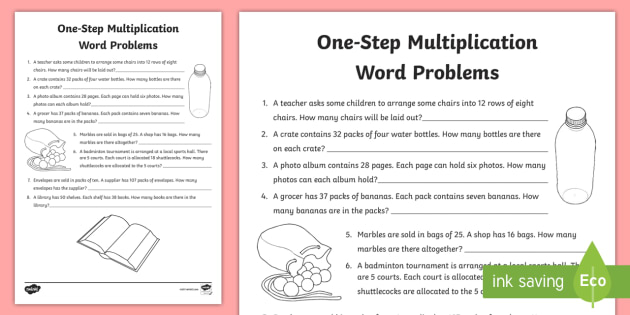One Step Multiplication Word Problems Worksheet Activity Sheet Ks2