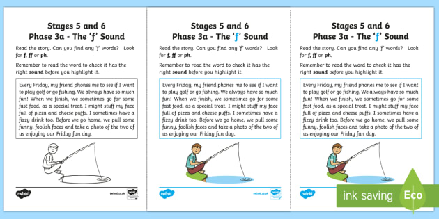 Northern Ireland Linguistic Phonics Stage 5 and 6 Phase 3a, 'f' Sound Activity Sheet - Linguistic Phonics, Phase 3a, Northern Ireland, 'f' sound, sound search, text, Worksheet