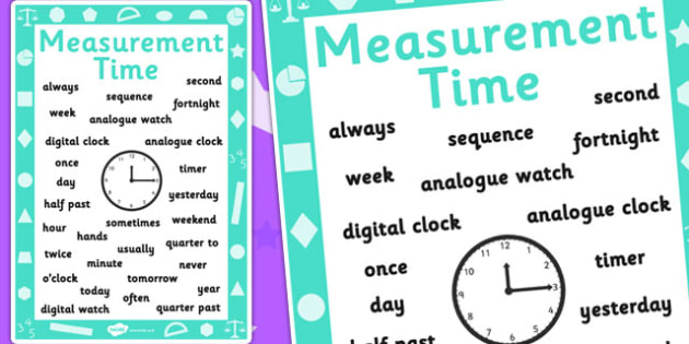 Key Stage 1 Measurement Time Poster - Display, Measurement, Time