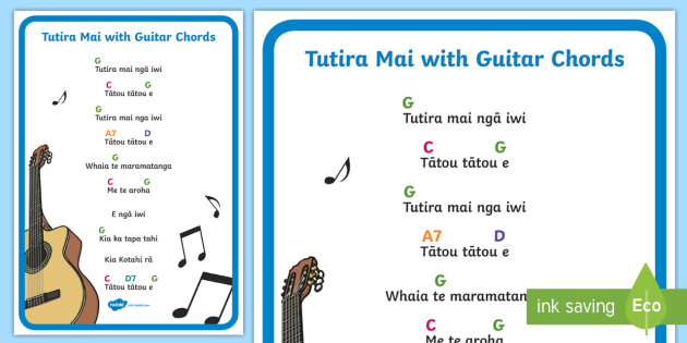 Tutira Mai Song With Guitar Chords A4 Display Poster Tutira