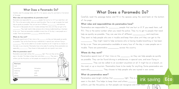 Second Grade What Does a Paramedic Do? Cloze Reading Worksheet - Helpers