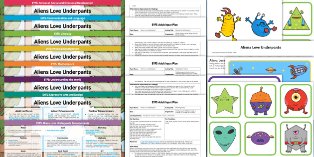 EYFS Lesson Plan Ideas and Resources Pack to Support Teaching on Aliens Love Underpants
