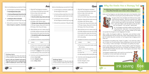 Why The Koala Has A Stumpy Tail Differentiated Reading Comprehension Activity - Australian Aboriginal Dreamtime Stories,Australia