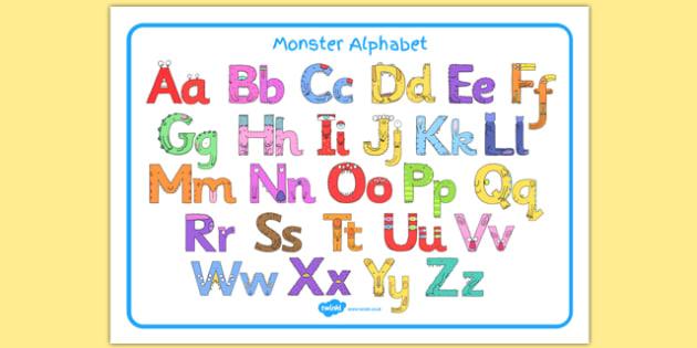 Monster Alphabet Image Mat - monster alphabet, monster, alphabet, images mat