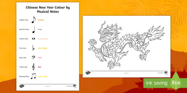 Chinese New Year Colour by Musical Notes Worksheet / Activity Sheet - colour, musical notes, activity, sheet, chinese new year, worksheet