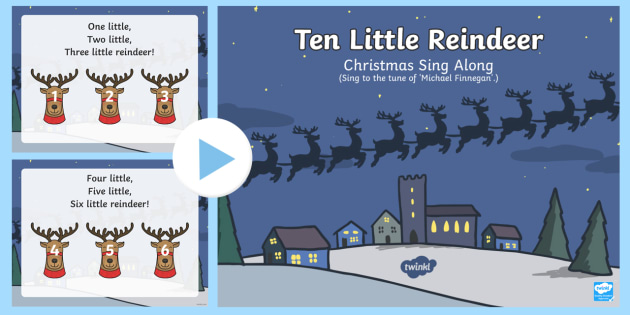 new ten little reindeer sing along song powerpoint powerpoint christmas song christmas - Animals Singing Christmas Songs