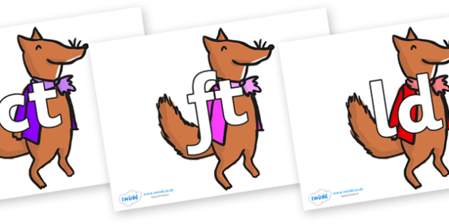 Final Letter Blends on Small Fox 1 to Support Teaching on Fantastic Mr Fox - Final Letters, final letter, letter blend, letter blends, consonant, consonants, digraph, trigraph, literacy, alphabet, letters, foundation stage literacy