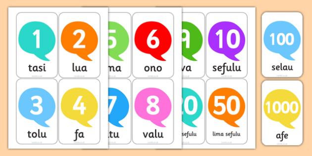 Numbers in Samoan Flashcards - nz, new zealand, numbers, samoan, flash cards, flashcards