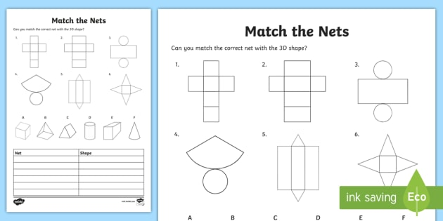 Match the 3D Net Activity Sheet 3d net worksheet match – Nets Worksheet