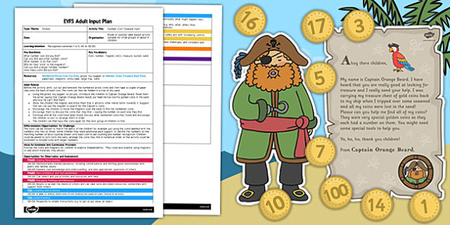 Number Coin Treasure Hunt EYFS Adult Input Plan Template Resource