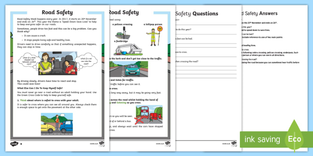 Road Safety Week Differentiated Reading Comprehension Activity - Road Safety Week, safety, Ks1, Reception, EYFS, road, crossing, green cross code, PSHE