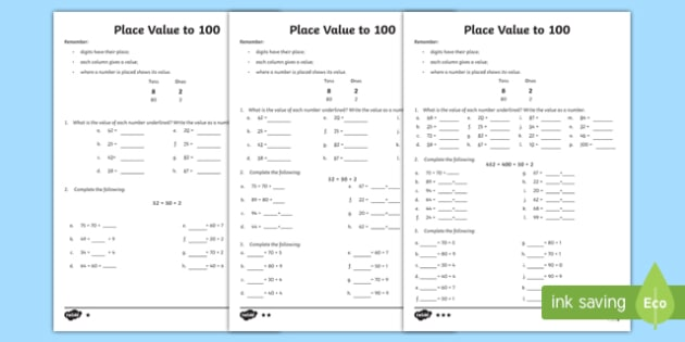 CfE Numeracy and Mathematics Place Value to 100 Differentiated Number Activity Sheet-Scottish