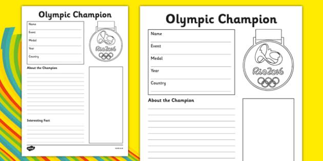 The Olympics Champion Fact File Activity Sheet - the olympics, rio olympics, rio 2016, 2016 olympics, fact file, champion, activity, worksheet