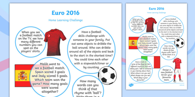 Euro 2016 Home Learning Challenge Sheet Reception FS2