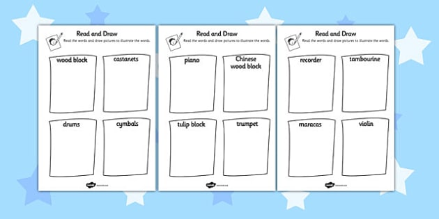 Musical Instrument Read and Draw Worksheet - musical, instrument