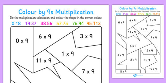 Colour by 9s Multiplication Activity Worksheet - colour, 9s, multiplication, activity, worksheet