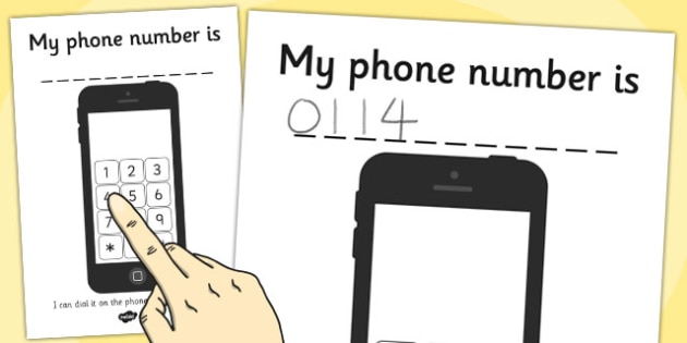 Phone Number Dialling Practice Sheet - practice, number, phone