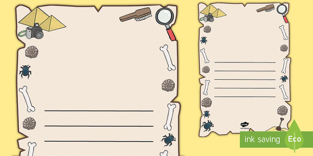 Archaeologist Writing Frames - archaeologist, archaeologist template, archaeologist page border, history page border, history writing frame, bones, fossils