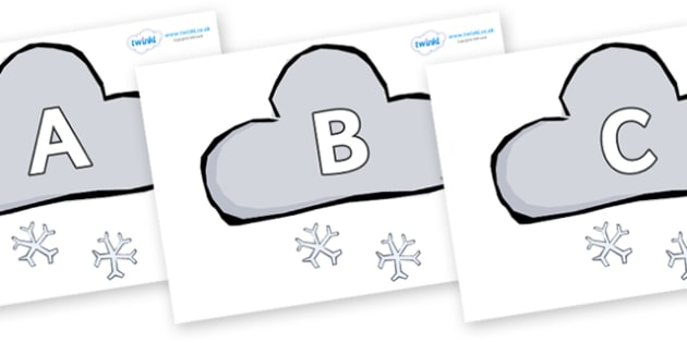 A-Z Alphabet on Weather Symbols (Snow) - A-Z, A4, display, Alphabet frieze, Display letters, Letter posters, A-Z letters, Alphabet flashcards