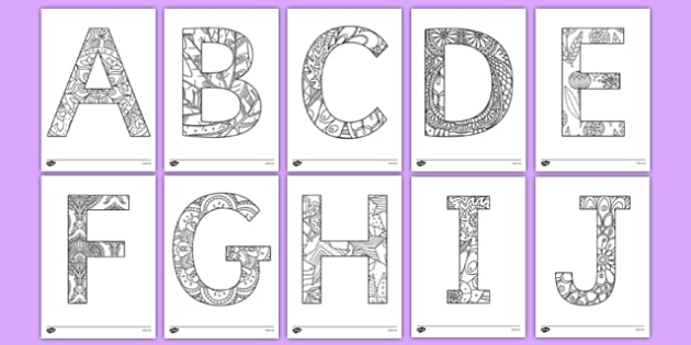 Adult Colouring Mindfulness Uppercase Alphabet Pattern