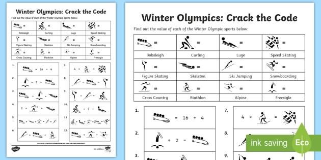 Lks2 Winter Olympics Crack The Code Worksheet Activity Sheet