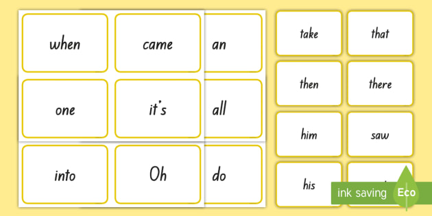 New Zealand Yellow Sight Words Flash Cards - reading, yellow ...