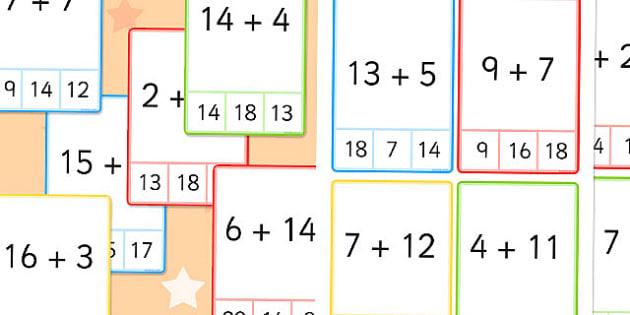 Peg Card Sums Within 20 - peg card, sums, within 20, 20, addition