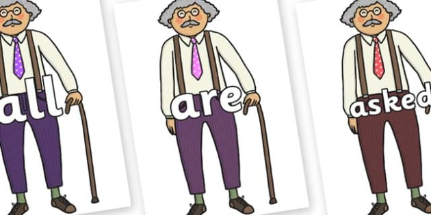 Tricky Words on Little Old Man - Tricky words, DfES Letters and Sounds, Letters and sounds, display, words