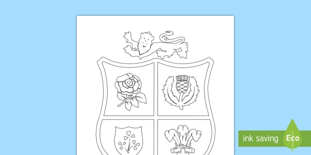 The British and Irish Lions 39 Crest Colouring Page NI