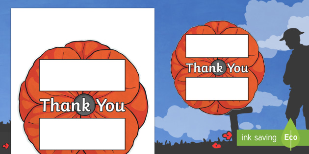 Remembrance Day Thank You Poppy Writing Template
