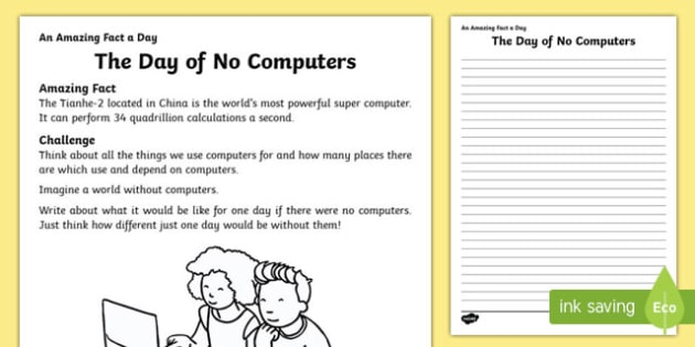 The Day of No Computers Activity Sheet, worksheet