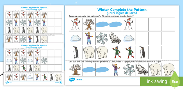 winter themed complete the pattern differentiated worksheet worksheets. Black Bedroom Furniture Sets. Home Design Ideas