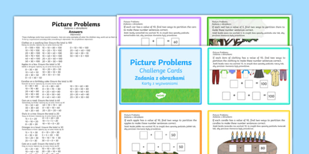 Picture Problems Challenge Cards Polish Translation - polish, Year 2 Maths Mastery, deeper understanding, addition, add, plus, total, sum, subtract, subtraction, takeaway, minus, left, more than, greater than, less than, find, solve, reason, predict,