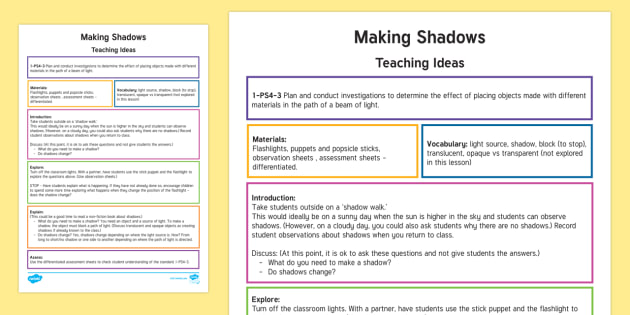 making shadows teaching ideas us light shadow science