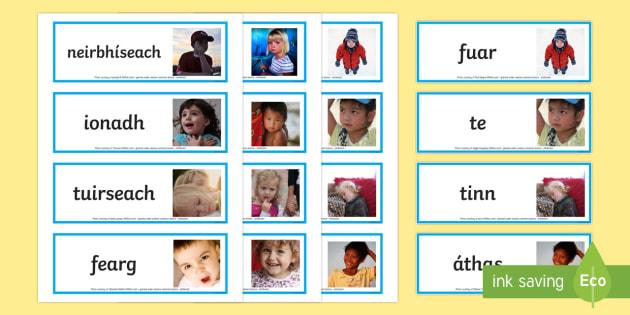 Emotions Photo Word Cards Gaeilge - Requests - ROI, Irish, Gaeilge, mothúcháin , feelings, emotions, myself, mé féin,Irish