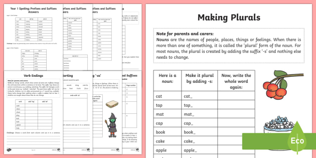 Year 1 Spelling: Prefixes and Suffixes Activity Booklet
