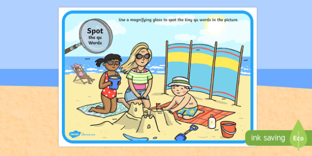 Phase 3 qu Words Beach Scene Magnifying Glass Activity Sheet, worksheet
