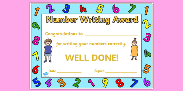 Number writing award certificate number number writing award number writing award certificate number number writing award certificate award certificate yadclub Images