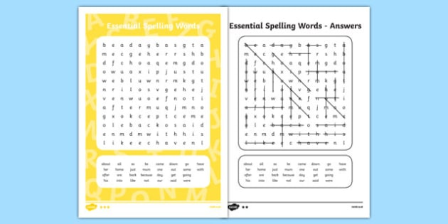 New Zealand List 3 Essential Spelling Word Search