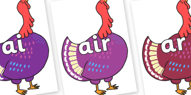 Phase 3 Phonemes on Hullabaloo Turkey to Support Teaching on Farmyard Hullabaloo - Phonemes, phoneme, Phase 3, Phase three, Foundation, Literacy, Letters and Sounds, DfES, display