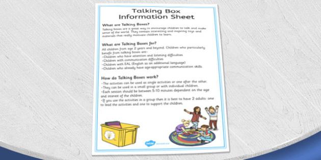 Talking Box Information Sheet - talking, box, information, sheet