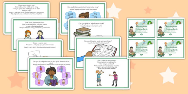 Reading Area Challenge Cards Editable Romanian Translation -early years, KS1, key stage 1, independent, english