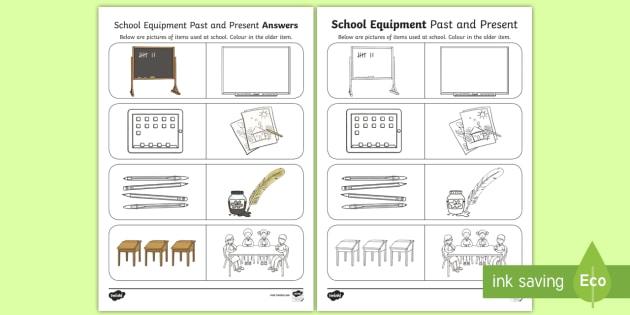 School Equipment Past And Present Worksheet / Worksheet
