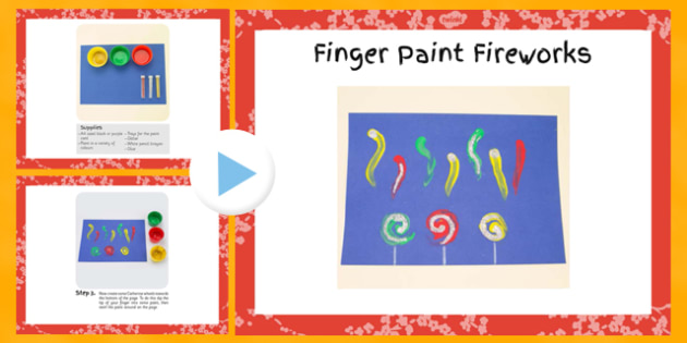 Finger Paint Fireworks Craft Instructions PowerPoint - craft, finger paint, instructions, powerpoint